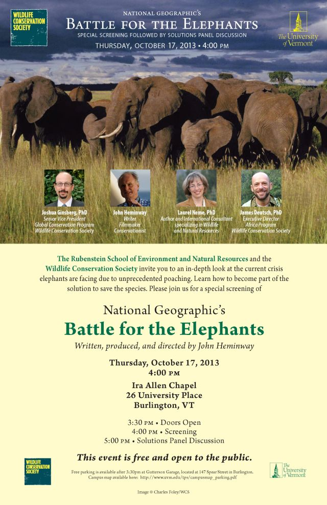 Battle for Elephants at UVM 10.17.13